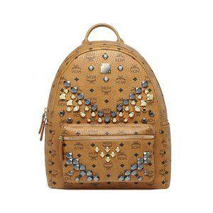 New/ tags MCM  Cognac Stark Studded Backpack Med